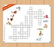 纵横填字谜,孩子的教育比赛关于动物 免版税库存图片