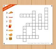 纵横填字谜,孩子的教育比赛关于快餐 免版税图库摄影