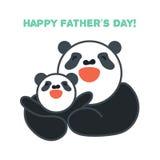 贴纸、卡片与愉快的父亲和儿童熊猫 库存照片