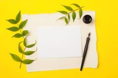 纸、墨水和书法笔 字法车间细节 文本的空白在明亮的黄色背景 免版税库存照片