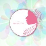 贴纸、标记或者标签设计为愉快的妇女的天 库存照片