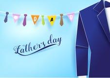 纸与垂悬在天空的领带的艺术蓝色衣服串 父亲 免版税库存照片