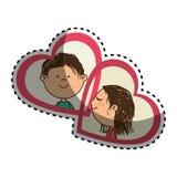 贴纸与她的颜色剪影和他在心脏框架 免版税库存照片