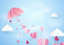 纸与流动的心脏的艺术飞行伞垂悬的串 免版税库存图片