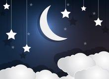 纸云彩新月形月亮和星在夜空 免版税库存图片
