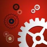 纸传染媒介嵌齿轮,在红色背景的齿轮 免版税库存照片