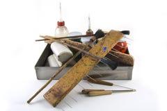 纸使有大理石花纹的工具 免版税库存图片