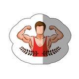 贴纸冠离开与有unsleeved衬衣的半身体肌肉人 库存照片