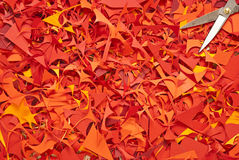 纸切口背景黄色红色 图库摄影