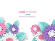纸切开了3d在桃红色,白色和紫罗兰色颜色的花横幅 安置文本 假日设计的装饰元素 皇族释放例证