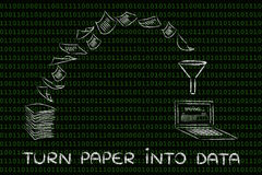 从纸到数据:一个无纸传输信息处的po扫描文件 库存照片