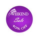 贴纸周末销售 40% 向量例证