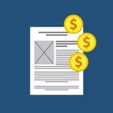纸和硬币设计 在灰色梯度背景的文件Concept.Tablet个人计算机 背景装饰图象风格化漩涡向量挥动 免版税库存图片