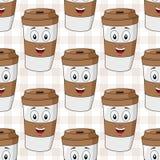 纸咖啡杯无缝的样式 库存照片