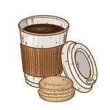 纸咖啡杯用在白色背景的macaron曲奇饼 库存照片
