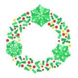 纸圣诞节雪花花圈 库存照片
