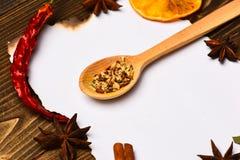 纸在木背景的 香料,厨房草本在白皮书附近放置 桂香、干桔子和胡椒 库存图片
