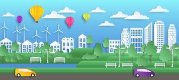 纸城市艺术 origami样式的,绿色自然环境,平的干净的生态城市背景夏天镇 ????? 向量例证