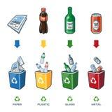 纸塑料玻璃液垃圾的回收站 库存照片