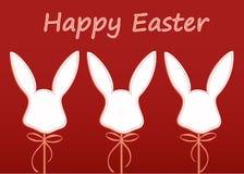 纸复活节bunnys 头在的兔子有的棍子弓 库存图片