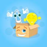 纸夹纸板箱黄灯电灯泡动画片 库存例证