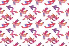 纸工艺水彩五颜六色的热带鸟,无缝的样式 库存图片