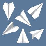 纸平面平的符号集 纸Origami飞机 免版税库存图片