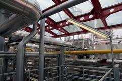 纸张和纸浆厂-同时发热发电工厂 免版税库存照片
