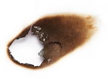 纸张被烧的漏洞 免版税库存照片