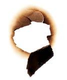 纸张被烧的漏洞 免版税图库摄影
