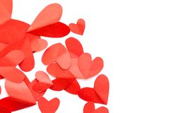 纸形状心脏顶视图在白色背景的,  免版税图库摄影