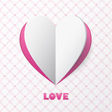 纸心脏爱卡片。设计贺卡的, weddin模板 免版税图库摄影