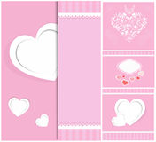 从纸情人节卡片的心脏 库存照片