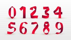 纸折叠的数字 红色丝带剧本字体 现代风格化纸字体 字母表董事会白垩信函 3d编号 元素设计 Celebrati 免版税库存图片