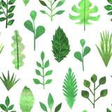 纸拼贴画绿色留下无缝的样式 库存图片