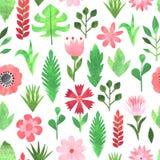 纸拼贴画花卉无缝的样式 向量例证