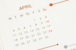 纸日历与文本4月月 免版税库存图片