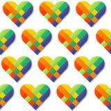 纸条纹编织的颜色心脏无缝的样式 免版税库存照片