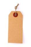 纸板与在白色backg隔绝的绳索的价格标签笔记 库存照片