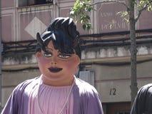 纸板巨人的面孔为假日 图库摄影