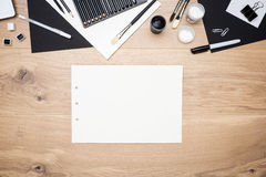 纸板料和其他项目 免版税库存照片