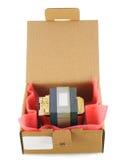 纸板电子装箱零件备件 免版税库存照片