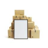 纸板箱和空的广告牌 库存照片