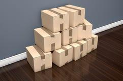 纸板箱堆议院 图库摄影