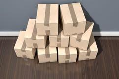 纸板箱堆议院 免版税库存图片