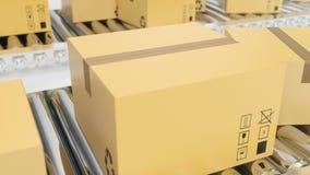 纸板箱沿传送带loopable动画进步 传送带把纸板传动机装箱 向量例证