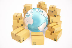 纸板箱运输和全世界交付企业概念,地球行星地球 3d翻译 这个图象的元素 库存照片
