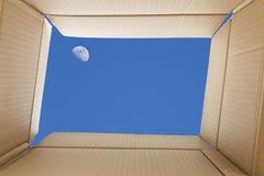 从纸板箱里边的看法 在天空的全月亮在t之外 免版税库存图片