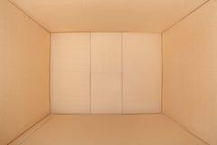 纸板箱,里面看法 免版税库存图片