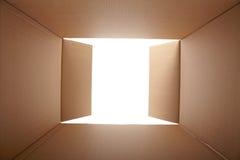 纸板箱,里面看法 免版税图库摄影